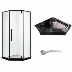 Kabina prysznicowa BLACK LOFT industrial czarna 90 5 kątna