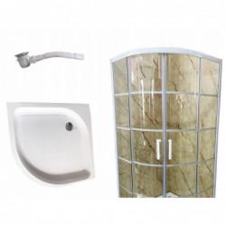Kabina prysznicowa 80x80 biała 198 szkło hartowane